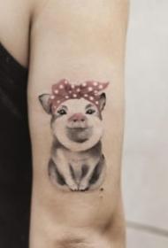 22张猪年的小猪主题纹身