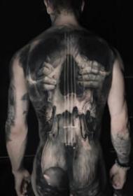 逼真的写实欧美大满背纹身作品图