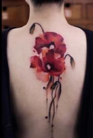 中国水墨风格的花卉植物纹身图案欣赏
