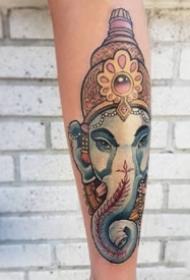 一组宗教传统象神纹身作品图案