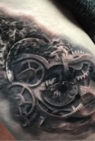 齿轮纹身图案  成对啮合转动的齿轮纹身图案