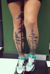 树纹身图案 身体各部位松树椰子树等树纹身图案