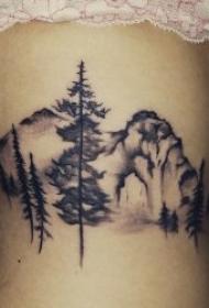 树的纹身图案 身体各个部位水墨风格的树的纹身图案
