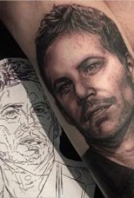 人物肖像纹身 10组黑灰纹身写实风格人物肖像纹身图案