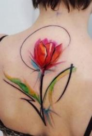 艺术纹身彩绘 多款艺术纹身彩绘风格的唯美花朵纹身图案