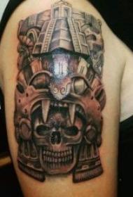 玛雅图腾纹身 黑灰色调象征古代文明的玛雅图腾纹身图案