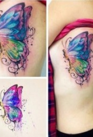蝴蝶纹身图案 唯美而妖娆彩绘或黑灰的蝴蝶纹身图案