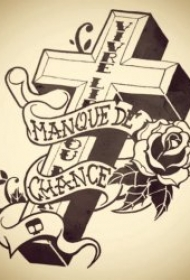黑灰纹身手稿 黑线条与铅笔素描的黑灰纹身手稿