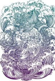 一张哪吒闹海大满背纹身手稿素材图案