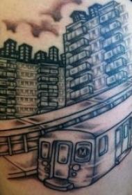 创意纹身图片  9张飞速行驶的地铁纹身图案