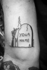 墓碑纹身图   8款阴森恐怖的墓碑纹身图案