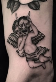 纹身小天使-黑灰色的一组西方小天使纹身图案