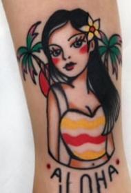 old school风格的小女郎纹身图片