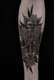 暗黑的一组骷髅主题纹身图片赏析