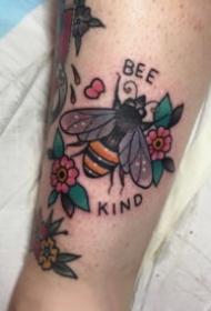 蜜蜂纹身 9张小清新的蜜蜂主题纹身图案