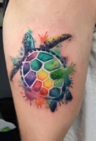 渐变色纹身 一组渐变色的水彩动物等纹身图片