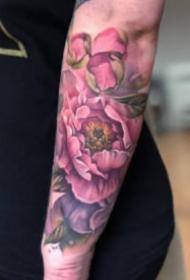 粉玫瑰纹身 水彩色风格的粉色玫瑰纹身图案