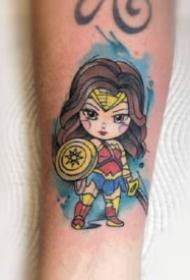 欧美影视的超级英雄卡通小图纹身作品