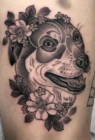 一组散点雾面的黑灰动物纹身图案