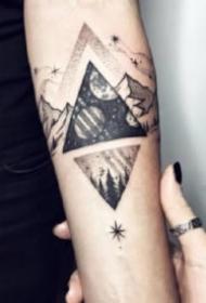 点刺风景纹身 点刺感觉的一组山水小风景纹身图片