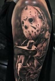 包臂写实纹身 15款包手臂的欧美写实黑灰图案