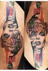 创意纹身 正着看和倒着看的一组纹身图案