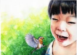 小女孩水彩肖像画图片(11张)