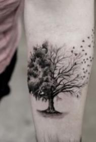 9张黑灰风景的写实小纹身图片