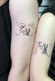 极简风格的一组情侣成对小刺青图片