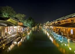 浙江乌镇西栅夜景图片(10张)