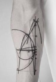 极简风格的一组创意几何线条纹身图案