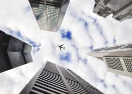 城市上空的飞机图片(13