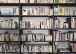 书架上摆放整齐的书籍图