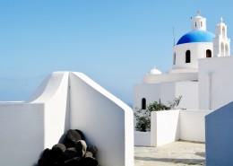 希腊圣托里尼小镇风景图