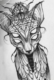 一组斯芬克斯猫的纹身图片