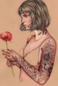 素描插画纹身女郎-西班牙艺术家Elena Pancorbo作品