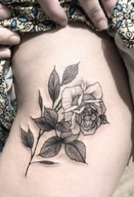 六款黑白点刺女生玫瑰花纹身图案参考