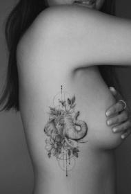 大象刺青 9款小清新素描速写风的大象纹身图片