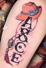 13张小腿等部位的海贼王路飞索隆艾斯纹身图案