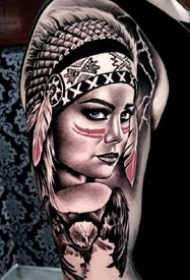 一组比较酷的黑灰人物肖像写实纹身图案欣赏