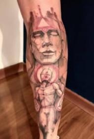 重彩色的一组水彩花臂花腿纹身作品图案