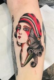 九款彩色成熟的oldschool女郎纹身图案欣赏