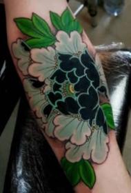 传统的9款彩色莲花牡丹等花卉纹身图案