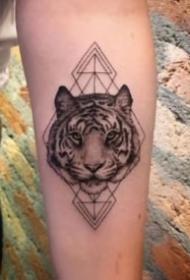 11款男生女生都适合纹的写实老虎头纹身图片