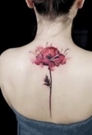 唯美女生纹身 18款唯美的彩色花朵纹身图案