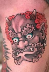 纹身唐狮图案 14款传统的唐狮纹身图片和手稿素材