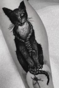 暗黑风格的9款猫纹身图案作品