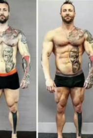 胖子纹身-几组胖子纹身瘦了之后对比纹身效果图