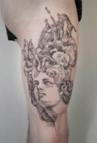 大腿大臂上一组西方铜版画纹身图案