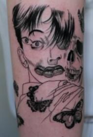 伊藤润二风格的9款富江恐怖漫画纹身图案